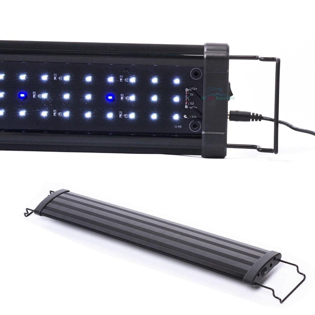 30''- 42'' LED Light 108 pcs HIGH LUMEN Aquarium Fish Tank White Blue Extendable