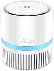 MOOKA Air Purifier for Home, 3-in-1 True HEPA Filter Air Cleaner for Bedroom and Office