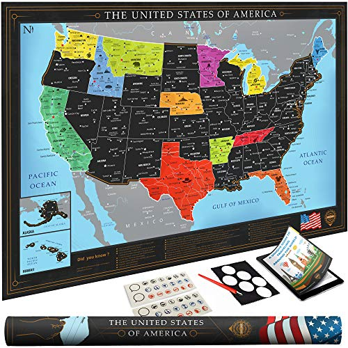 Premium Scratch Off USA Map | Black Personalized Wall Map Poster | Deluxe Gift for Travelers & Travel Tracking | Bonus Adhesive and Memory Stickers + Scratching Tool + Wiping Cloth + Traveling eBook