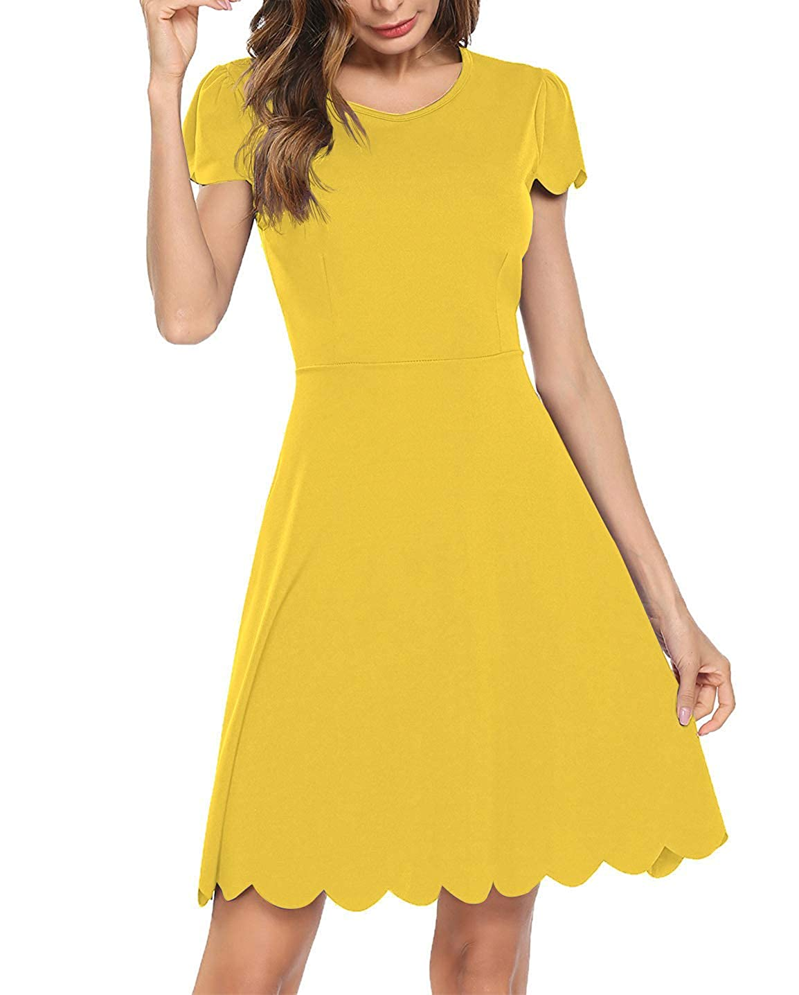 5babb79d03b Bloggerlove Women s Summer A-Line Scallop Pleated Skater Dress at Amazon  Women s Clothing store