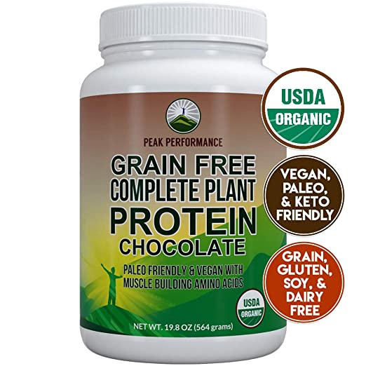 Organic Paleo Grain Free Plant Based Protein Powder. Complete Raw Organic Vegan Protein Powder. Amazing Amino Acid Profile and Less Than 1g of Sugar. Hemp Protein Powder, Pea Protein Powder Chocolate best paleo powder