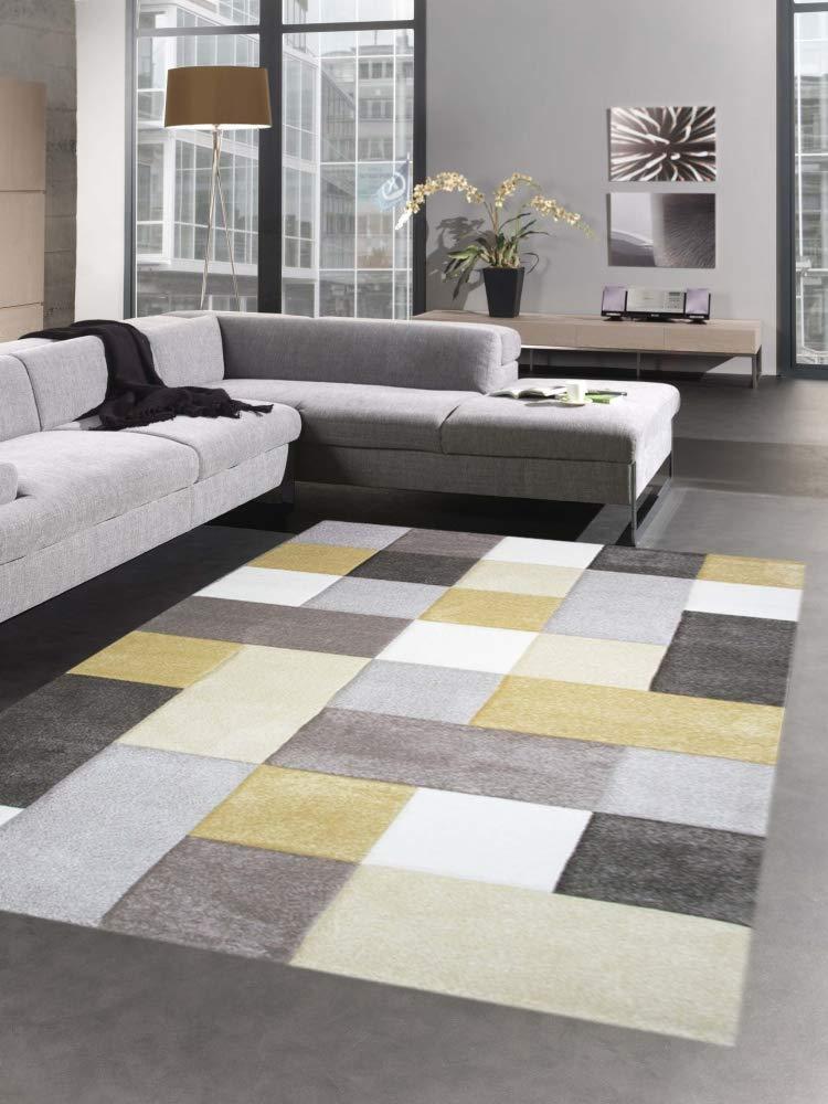 Carpetia Moderner Teppich Wohnzimmerteppich Kurzflor Teppich Karo Pastell senf gelb Creme beige Größe 120x170 cm