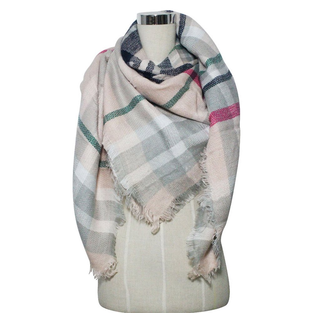 The North Bear Plaid Tartan Oversized Blanket Scarf Wrap Checked Shawl ... (Light Pink) at Amazon Womens Clothing store: