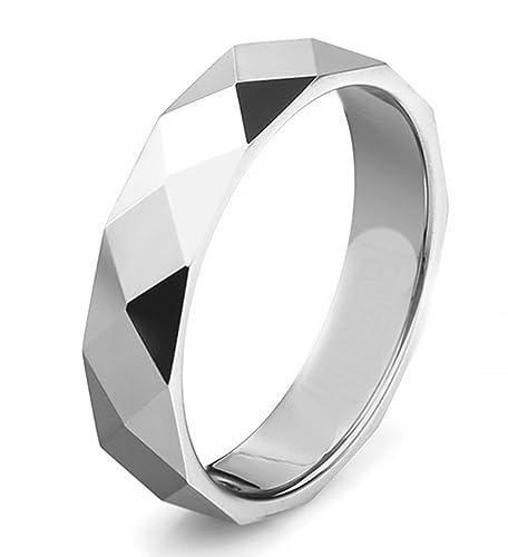 Epinki Tungsteno Hombre Anillo Diamante Forma Patrón Anillos de Tungsteno Anillos de Boda Anillo de propuesta de Matrimonio Plata Talle 15: Amazon.es: ...