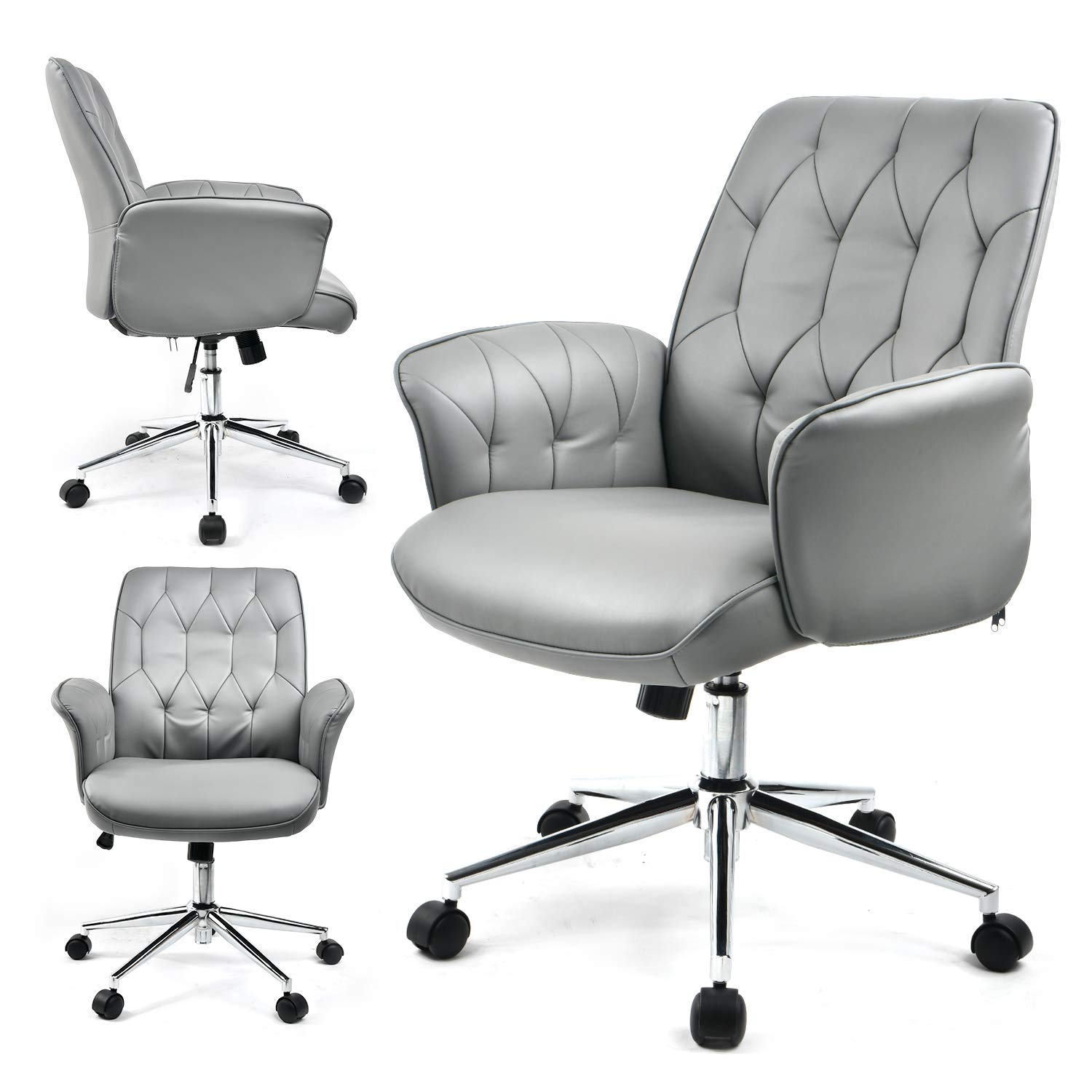 COMHOMA Modern Home Office Chair Vegan Leather Upholstered Executive Conference Stylish Design Adjustable Mid-Back Ergonomic Desk Chair Gray by COMHOMA