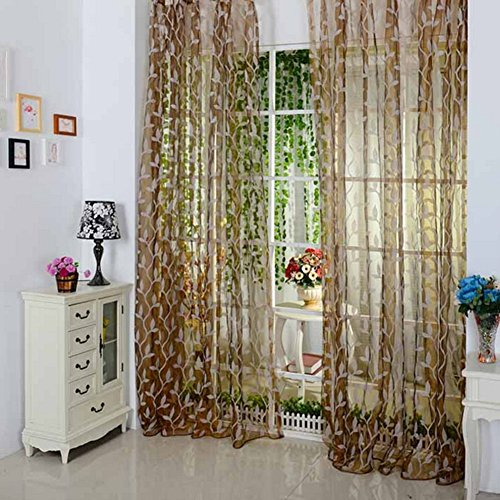 Door Window Leaf Tulle Curtain Drape Panel Romantic Voile Scarf Sheer Valances (Brown)