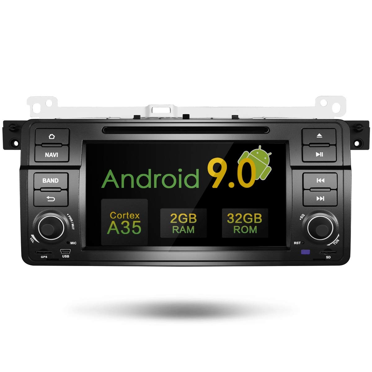 Amaseaudio Upgrade Android 9.0 32GB ROM 7 Inch TFT LCD 2 Din Online Navigating Car Stereo Radio Mirrorlink WiFi GPS for BMW 3 Series E46