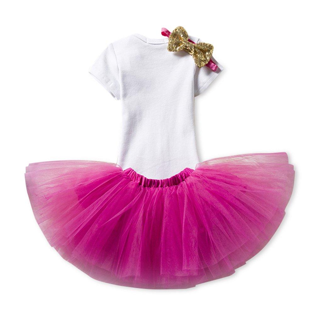 Beb/é Ni/ña 3pcs Corona Patr/ón de primer cumplea/ños para vestido de tut/ú con Diadema Cereza//rosa//1Y