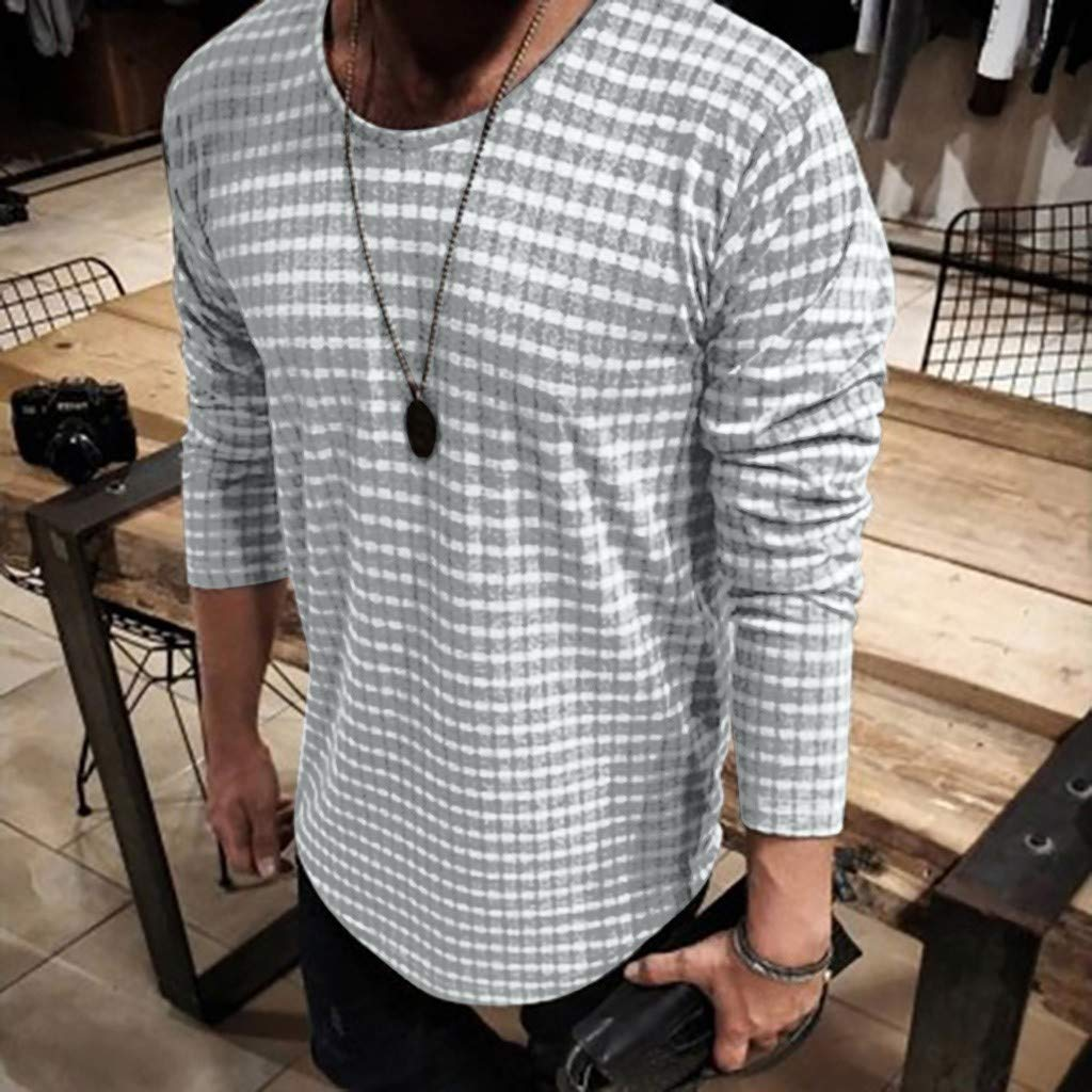 Allywit-Mens Casual Henley T-Shirts Long Sleeve Relaxed Fit Striped Casual Shirt