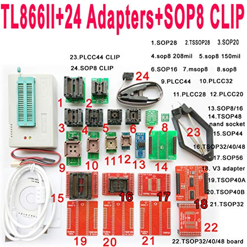 - SETCTOP TL866II Plus usb programmer +24 adapter socket+SOP8 clip 1.8V nand flash 24 93 25 mcu Bios EPROM AVR eprom