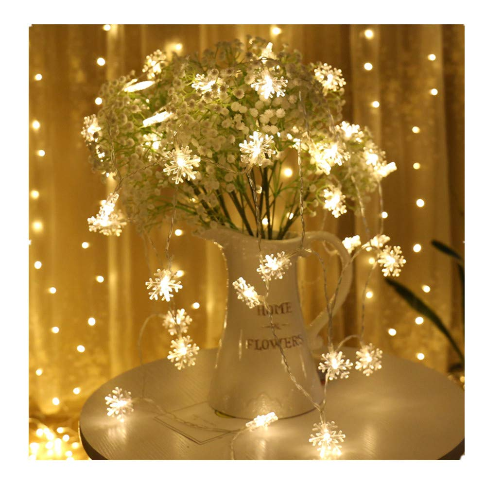 padom 10m 80 Warmwhite Snowflake String Lights with AAA Power Holiday Decoration Lamp Festival Christmas Lights Indoor Outdoor Lighting (Without Batteries)