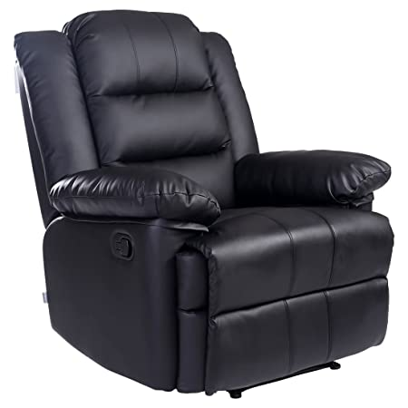 LOXLEY BONDED LEATHER RECLINER ARMCHAIR SOFA HOME LOUNGE CHAIR RECLINING  GAMING (Black)