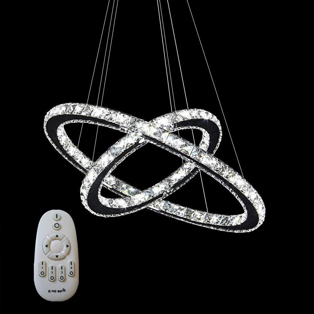 96W Kaltes Wei/ß 96W LED Kristall Design H/ängelampe Deckenlampe Deckenleuchte Pendelleuchte Kreative Kronleuchter Drei Ringe Kaltes L/üster