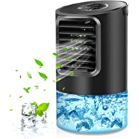 Mikikin Portable Air Conditioner Fan, Personal Mini Evaporative Air Cooler Desk Humidifier Misting Fan with Handle, 7…