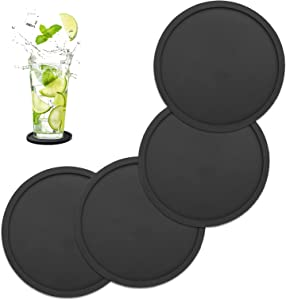 Silicone Drink Coasters by ASTER Set of 4, Non-Slip Heat Resistant Silicone Cup Mate, Soft Coaster for Prevents Furniture & Tabletop Damages, Fits Multi-Size of Drinking Glasses(Black)