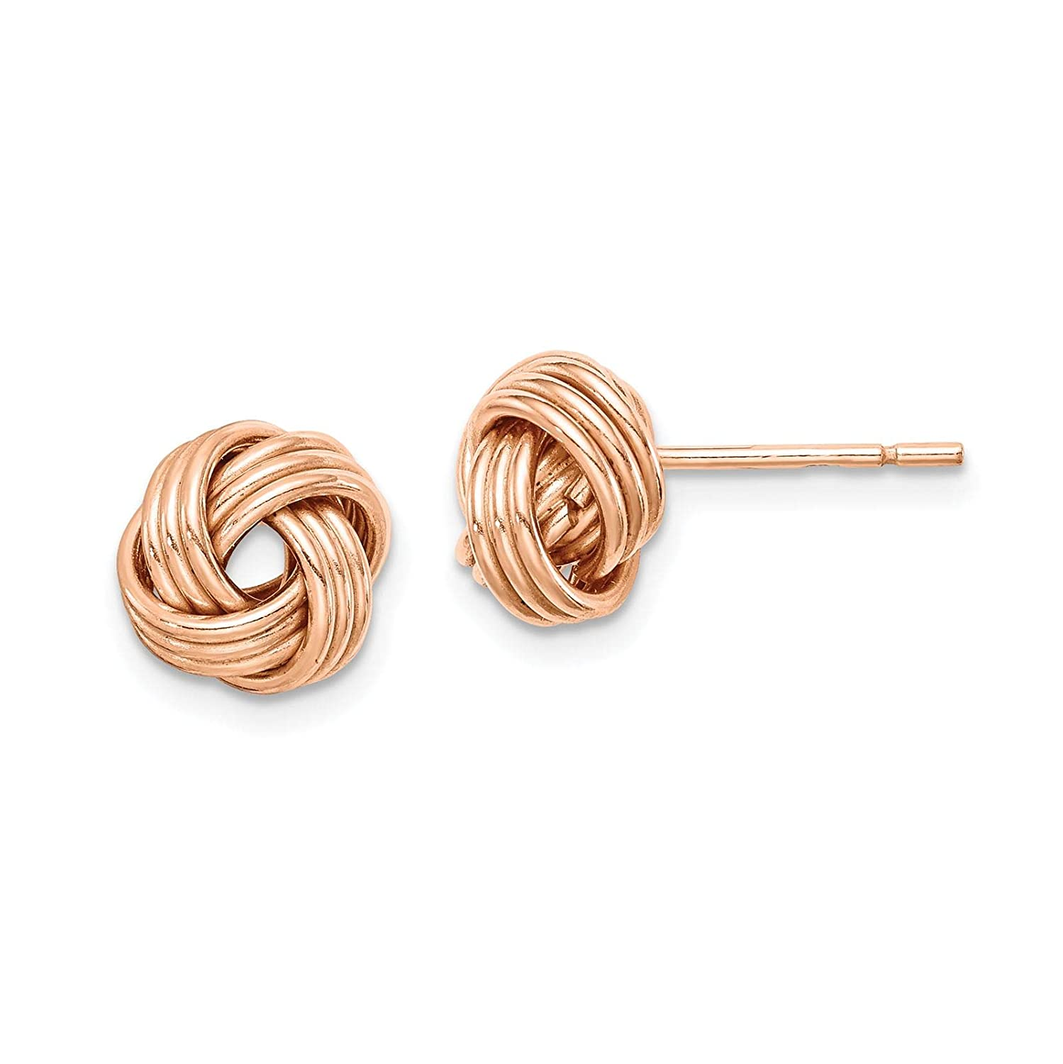 925 Sterling Silver Rose-tone Polished Love Knot Post Earrings