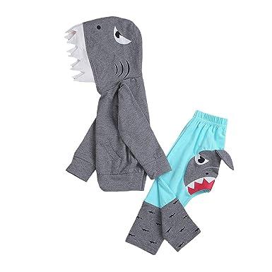 16ddccf6f6b0 Amazon.com  C M Wodro Unisex Baby Autumn Winter Shark Hooded ...