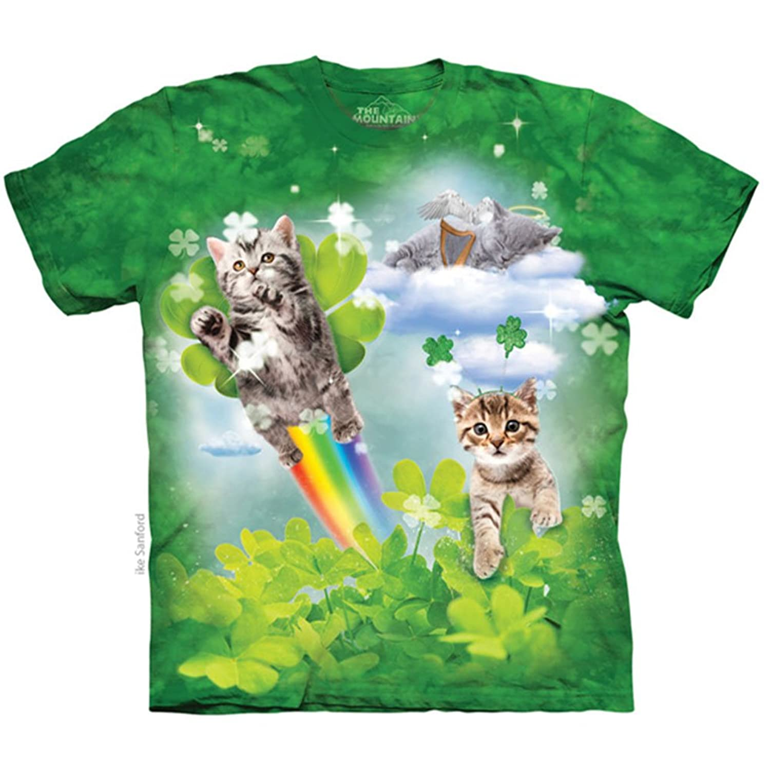 The Mountain Cotton Green Irish Fairy Kitten Novelty Adult T-Shirt (Green)