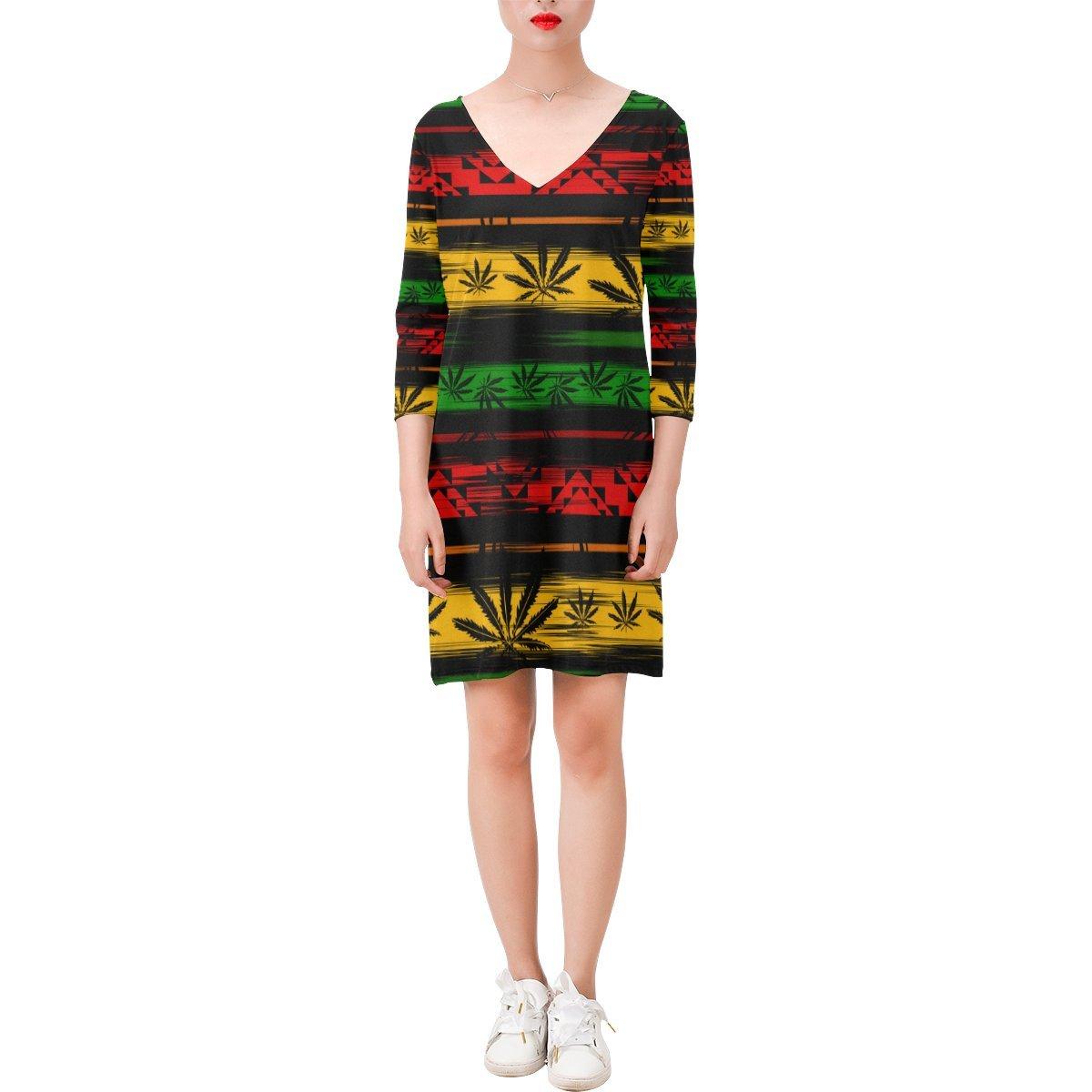 InterestPrint Women's Sexy Faux Wrap Dress Unique Design Marijuana Cannabis Deep V Three-Quarter Sleeve Dress