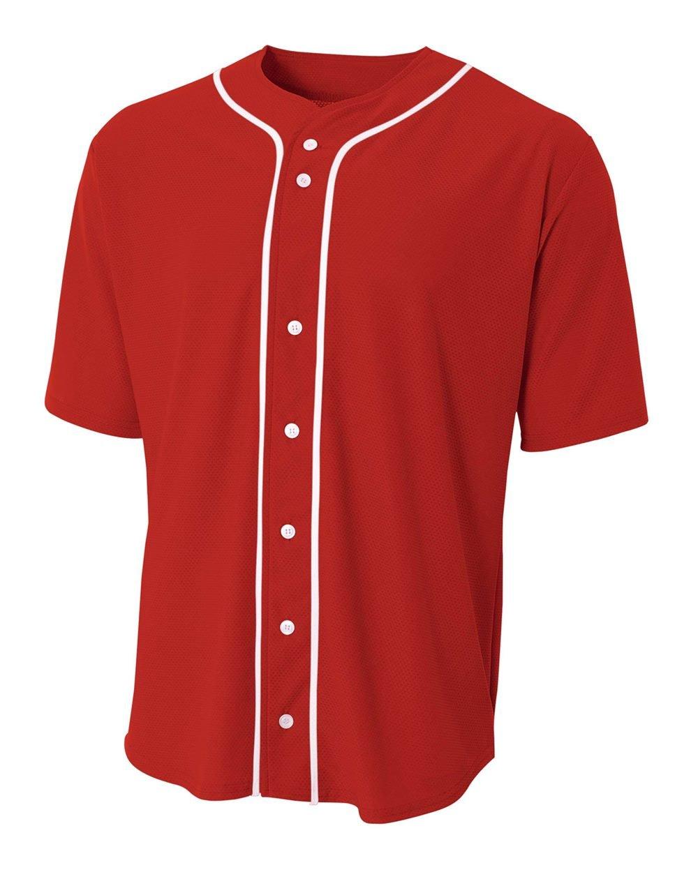 A4 Sportswear Red Youth Large (Blank) Full-Button Baseball Wicking Jersey by A4 Sportswear