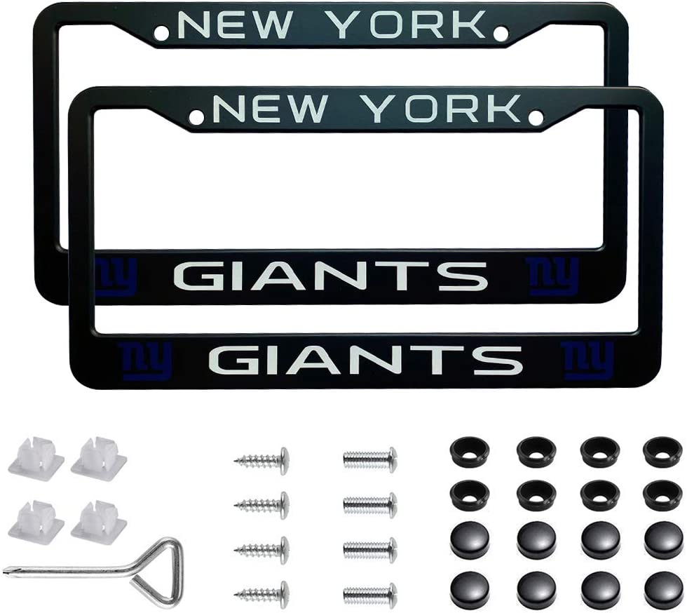 Rugby Team Logo License Plate Frames with Screw Caps Set Stainless Steel Frame Applicable to US Standard Cars License Plate Wasben 2pcs NFL Dallas Cowboys