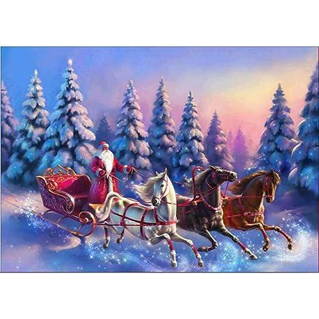 FANOUD Pintura de Diamante 5D Bordado Pintura Rhinestone Natural ecológico, Navidad de Nieve, árbol