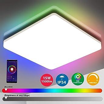 Oeegoo Wifi Smart Lámpara LED de techo, control de aplicación ...