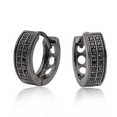 bea490a00 Image Unavailable. Image not available for. Color: Black Cubic Zirconia  Micropave CZ Huggie Hoop Kpop Earrings Mens Womens ...