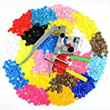 Idealeben 350 sets T5 Snap Plastic Buttons Poppers 25 color Plier Studs Fasteners for Baby Cloth Diaper Bib (T5 buttons + Pliers set)