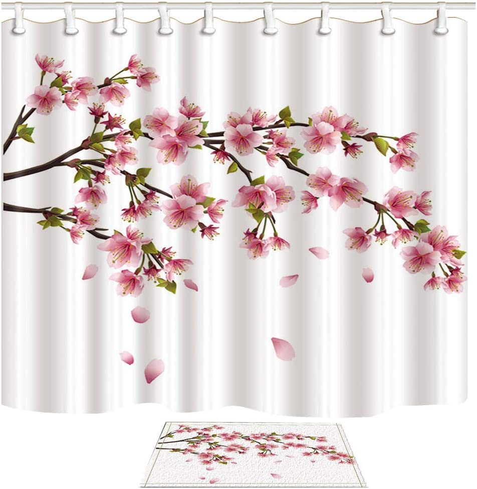 Shocur Cherry Blossom Shower Curtain Set, Beautiful Scenery Art Painting, Bathroom Decor Polyester Fabric 69 x 70 Inches Pink Floral Theme Bath Curtain with 12 Hooks and Non-Slip 40 x 60cm Bath Rug