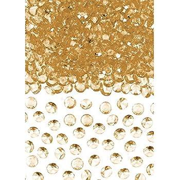 Luxurious Acrylic Confetti Gems Wedding or Bridal Shower Party Decoration, Gold, 1 oz..