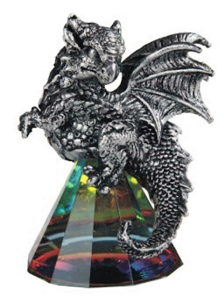 Chen Silver Dragon on Pyramid Rainbow Prism Glass 71684 George S