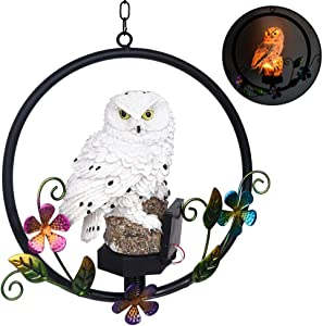 Farway Solar Powered LED Parrots Hanging Ring Statue, Outdoor Lights Owl Ornament Outdoor Sculpture Garden Statues,Garden Figurines Outdoor Solar Decor Garden (Owl)