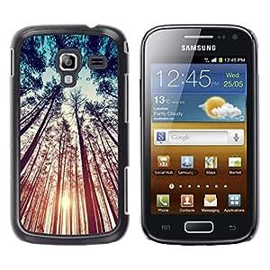 LECELL--Funda protectora / Cubierta / Piel For Samsung Galaxy Ace 2 I8160 Ace II X S7560M -- Teal Orange Sun Sunset Woods Summer --