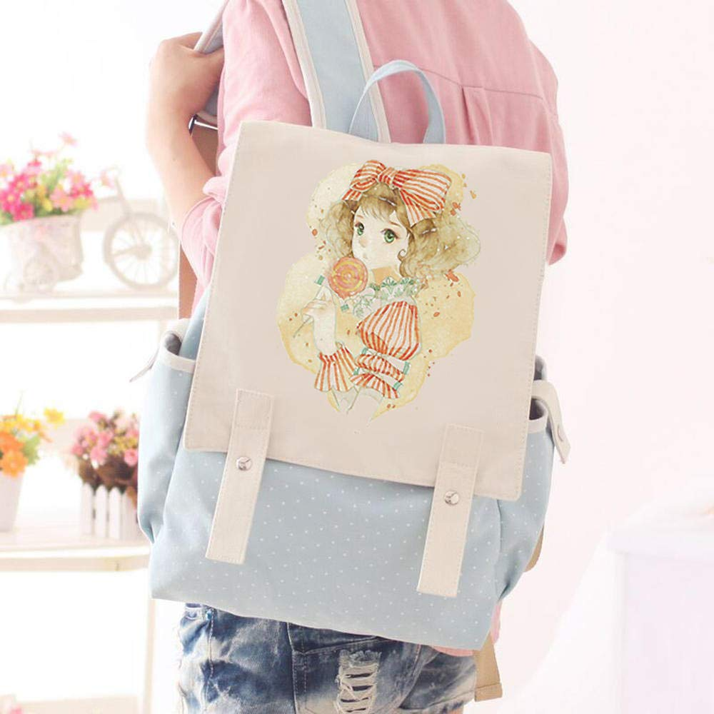 Light bluee lollipop beauty CYCY Yufan canvas bag middle school student backpack female Korean version of the tide Japanese and Korean computer backpack British College wind small fresh light bluee tower