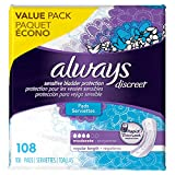 Always Discreet Incontinence Pads for Women, Moderate Absorbency, Regular Length, 108 Count (Pack of 2)