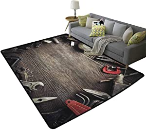 Industrial Girl Beautiful Rug Grungy Tools on a Wooden Board Manual Manufacturing Repairing in WorkshopCosy Cute Floor Rug for Kids and Teens Room Brown Grey Red 79 x 94 Inch
