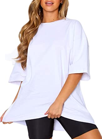 Women Cotton Short Sleeve Cool Loose Casual Oversized T Shirt