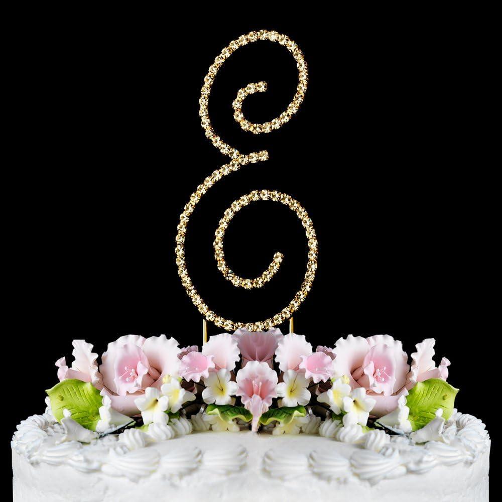 RHINESTONE CRYSTAL GOLD MONOGRAM LETTER CAKE TOPPER DECORATION