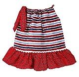 Dress Up Dreams Boutique Wholesale Princesa Vestido de Almohada con Satin Tie–Rojo, Blanco y Rayas, Color Azul, Rojo/Blanco/Azul