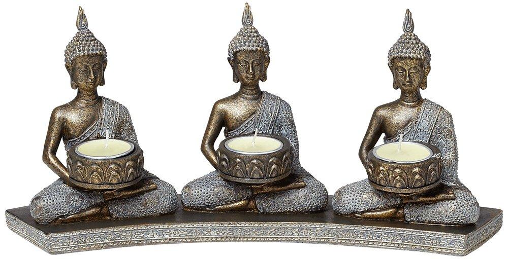 Kensington Hill Three Thai Buddhas 3-Tealight Candle Holder by Kensington Hill