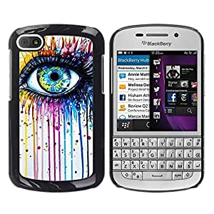Paccase / SLIM PC / Aliminium Casa Carcasa Funda Case Cover - Blue Crayon Melting Rainbow Color - BlackBerry Q10