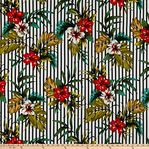 (Fabric Liverpool Double Knit Tropical Floral Fabric, Hunter/Black, Fabric By The Yard)