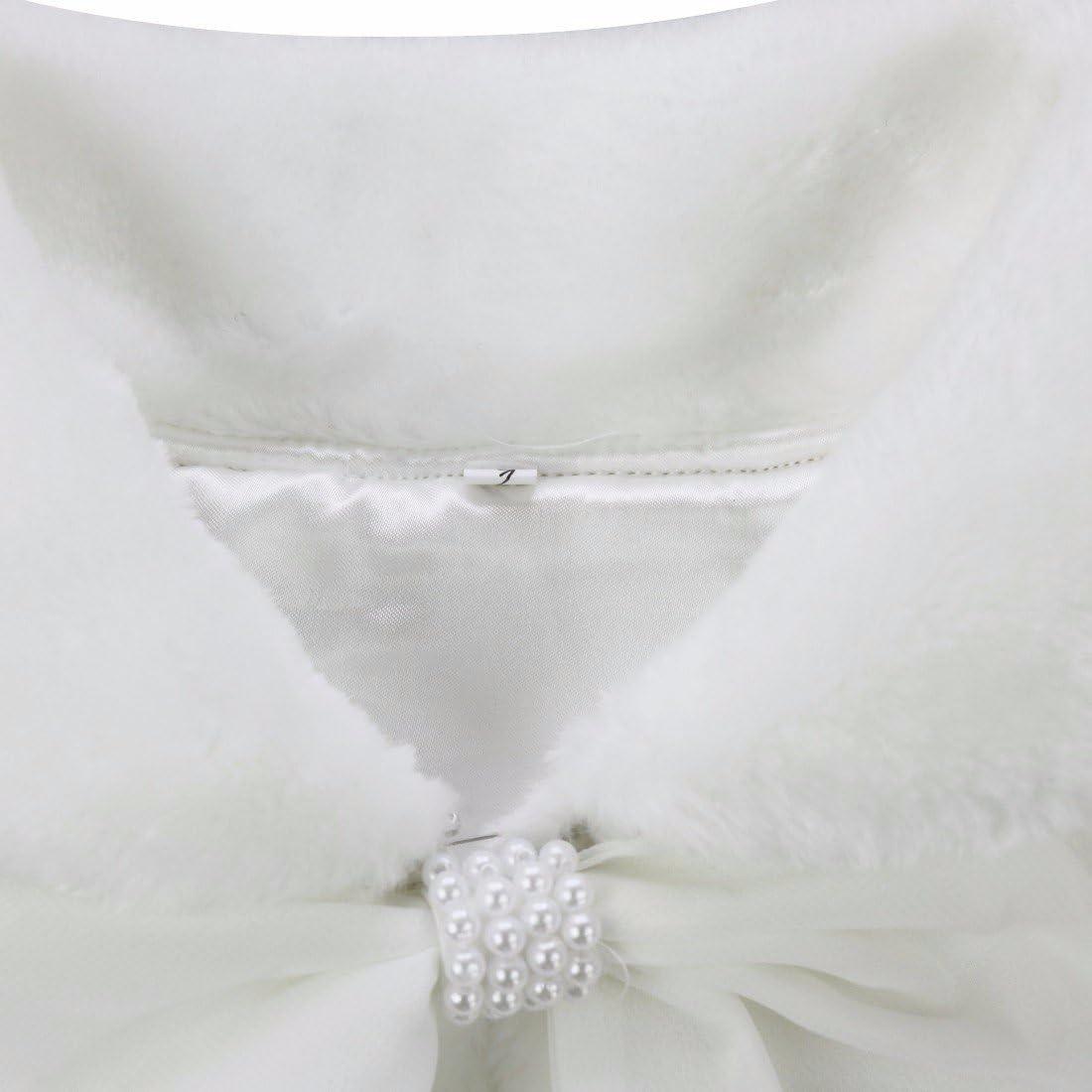 FEESHOW Flower Girls Faux Fur Bolero Shrug Princess Shoulder Cape Wedding Dress Shawl Wrap Stole