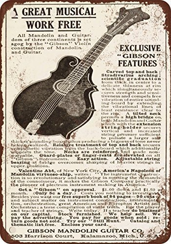 1911 Gibson Guitars and Mandolins Vintage Look Reproduction Metal Tin Sign 12X18 Inches -