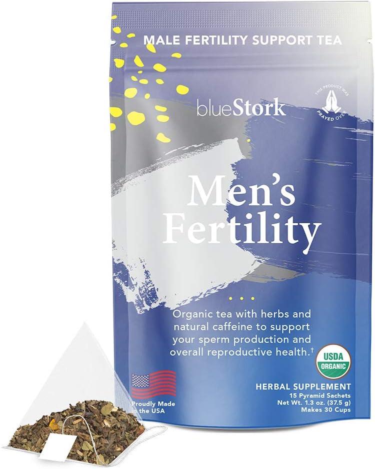 Blue Stork Male Fertility Tea: Mint Tea for Male Reproductive Health, 100% Organic, Fertility Tea for Men, Green Tea, Turmeric, 30 Cups: Health & Personal Care