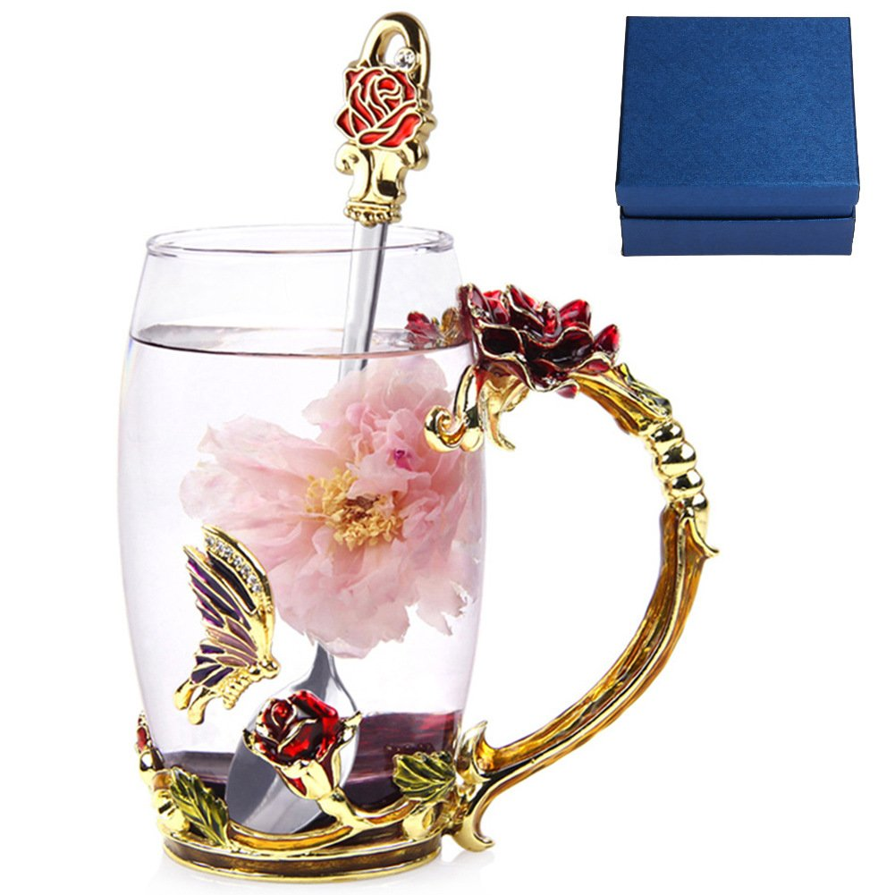NBHUZEHUA Floral Glass Coffee Mug Tea Cup with Spoon Birthday Valentines Day Gift to Girlfriend Lover 014
