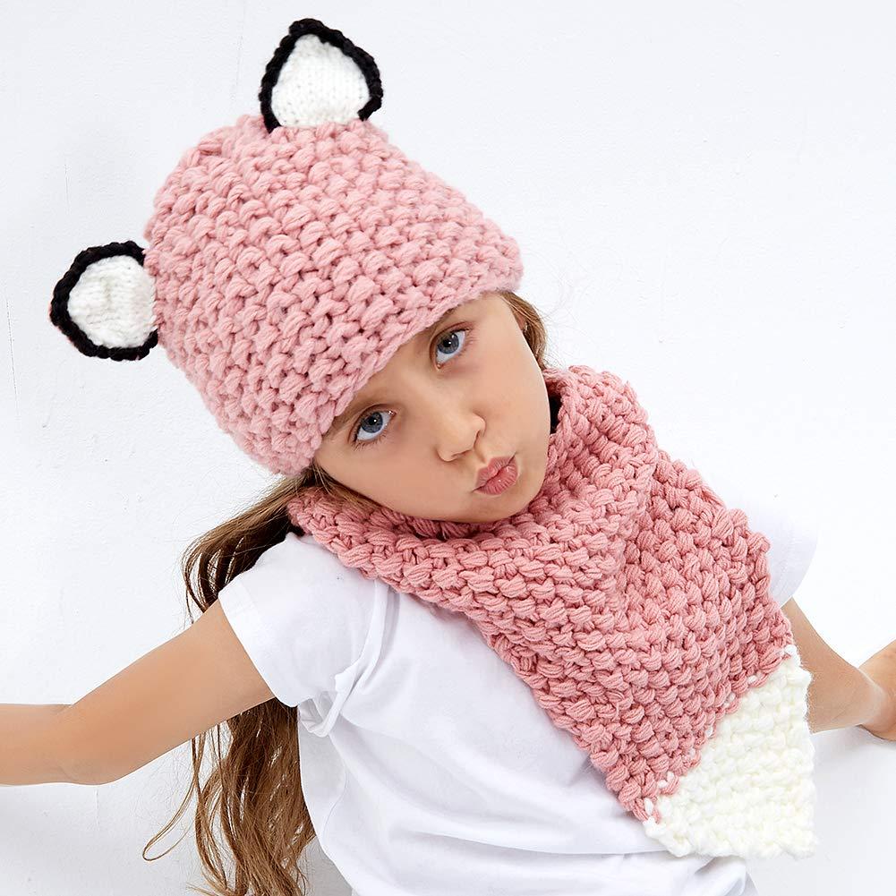 Amazon.com  Kids Knit Hat Winter Hat Warm Animal Hat Handmade Crochet Hat  Scarf Cute Animal Ear Beanies Hat for Girls Boys (Fox)  Clothing 6952d4905f6