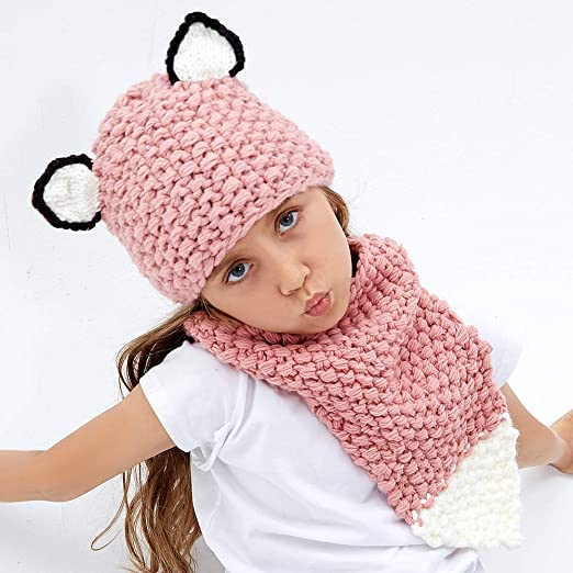 78ef8393506 Amazon.com  Kids Knit Hat Winter Hat Warm Animal Hat Handmade Crochet Hat  Scarf Cute Animal Ear Beanies Hat for Girls Boys (Fox)  Clothing