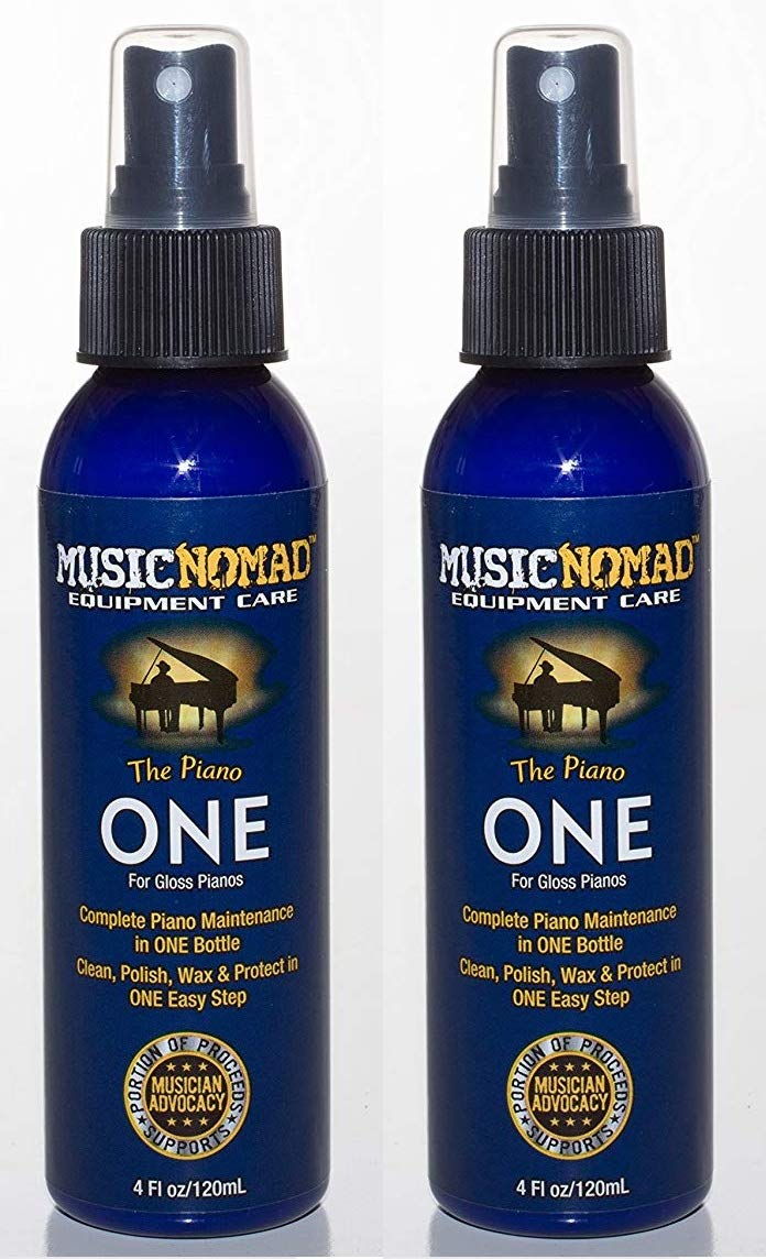 Music Nomad MN130 Piano ONE All-in-1 Cleaner, Polish, and Wax for Gloss Pianos, 4 oz. (Тwо Расk) by MusicNomad